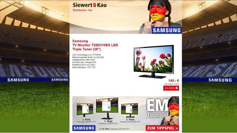 Darauf können sich die Fachhändler bei der EM-Aktion von Siewert & Kau freuen: tippen, fiebern und gewinnen – dazu noch die Sonderangebote von Samsung nutzen.