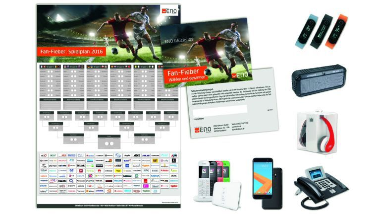 Vom Fan-Set über Action Cam, Smartphones bis hin zum Rennwagen gibt es beim ENO-Gewinnspiel zur Fußball-EM zu gewinnen.
