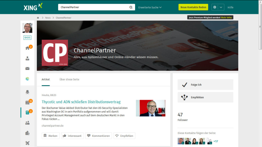 Neue News-Plattform: ChannelPartner bei Xing