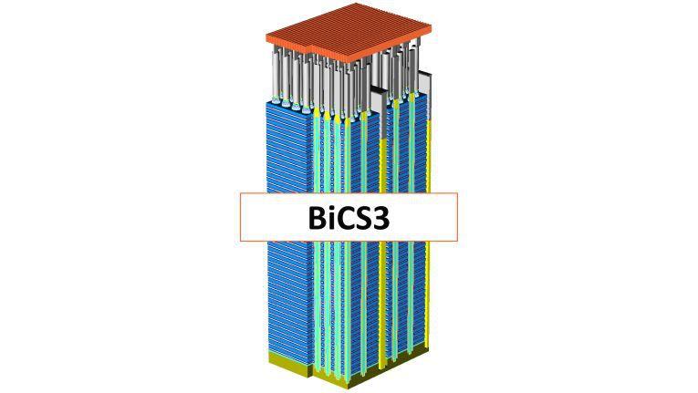 Die vorerst im 256 Gigabit 3-Bits-Pro-Zelle-Chip angewandte Technologie bringt den branchenweit kleinsten Speicherbaustein seiner Klasse hervor. Hier ein Modell des WD 3D NAND BiCS3.