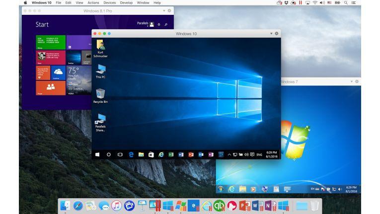 Nicht nur mit den abgebildeten Windows-Versionen, auch mit XP, OS X, Linux oder Google Chrome kommt Parallels Desktop 12 für Mac zurecht.