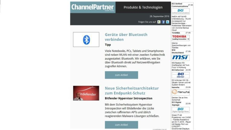 ChannelPartner Newsletter Produkte & Technologien