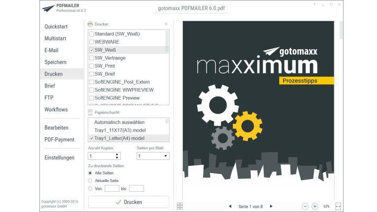 Mit PDFmailer 6 lassen sich Dokumente auch klassisch per Brief versenden.