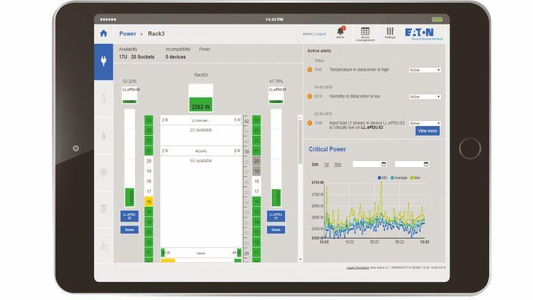 Diese Darstellung, hier auf einem Tablet-PC, zeigt nur einen kleinen Ausschnitt an Details von Eatons IPM Software.