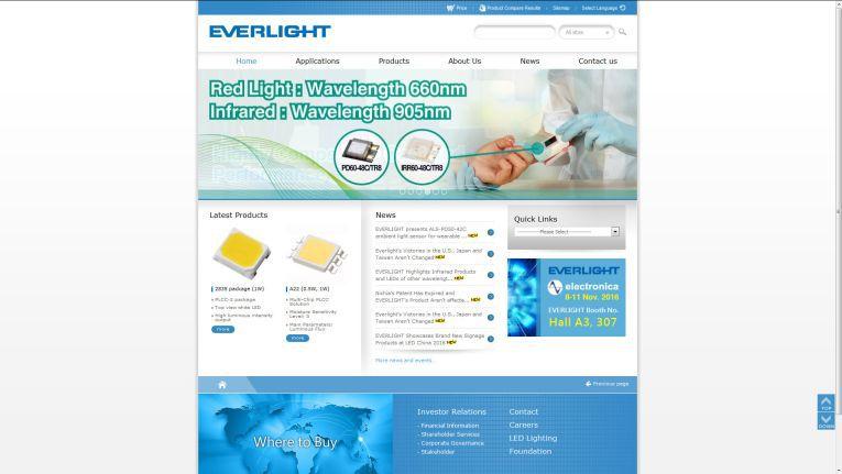 Homepage der Everlight Electronics Co., Ltd.