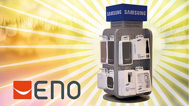 Dieses attraktive Theken-Display können Händler bei ENO erhalten, wenn sie eines der Samsung PoS-Pakete bestellen.