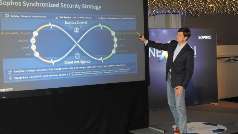 "CEO Kris Hagerman stellt Sophos' ""Synchronized Security""-Strategie vor."