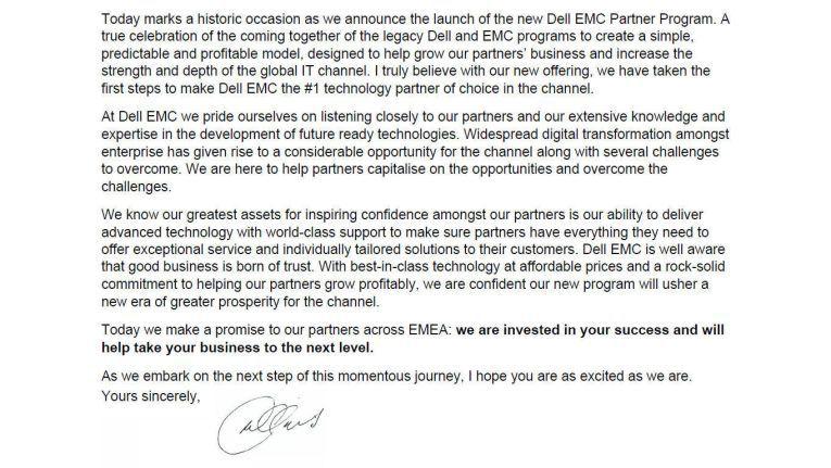 Das Anschreiben von Michael Collins, Senior Vice President, Channel, Dell EMC EMEA.