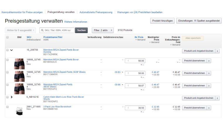 Preisgestaltung verwalten auf Amazon
