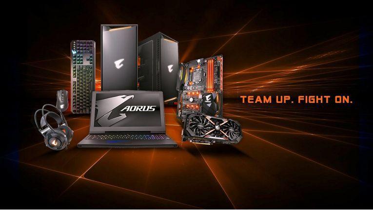 Eine Auswahl spezieller Gaming-Produkten der Gigabyte-Serie Aorus.