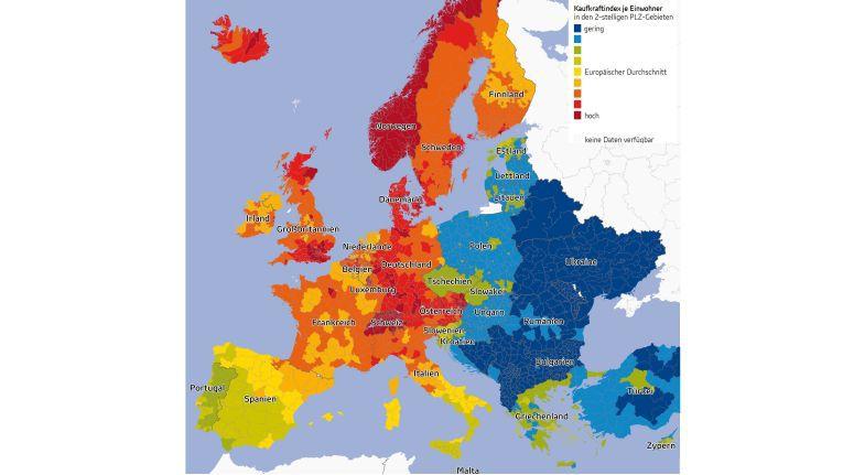 Das Beispiel der lokal, national und regional höchst unterschiedlich verteilten Kaufkraft in Europa zeigt, dass Vertriebsstrategien an die entsprechenden Gegebenheiten angepasst werden müssen.
