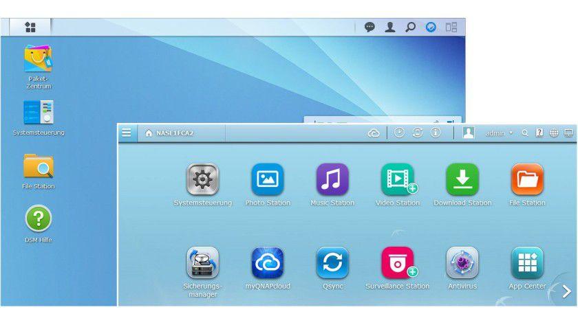 """Der Desktop des Konfigurationsmenüs ist bei Qnap anfangs """"voller"""" (rechts unten), weil der Hersteller im Gegensatz zu Synology werksseitig mehr Programme vorinstalliert."""