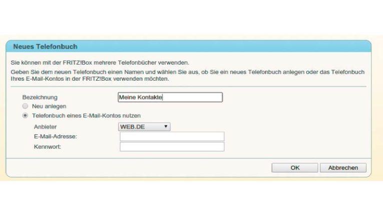 Richten Sie sich ein Telefonbuch mit den Daten eines externen Mailanbieters ein, und fügen Sie das Mailkonto in Thunderbird hinzu.