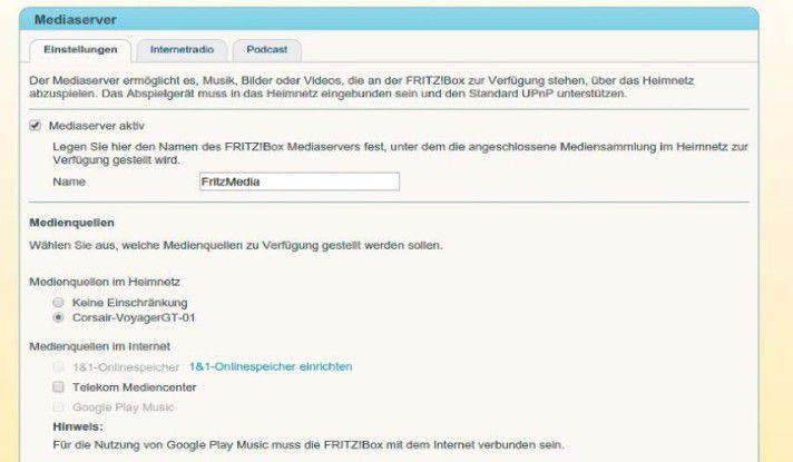 Der Medienserver der Fritzbox kann auch Daten aus dem Internet im Heimnetzwerk verteilen, so etwa von Google Music.