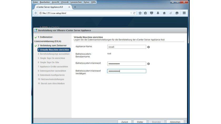 Die VCSA-Appliance basiert auf Suse Linux Enterprise, weshalb ein Passwort für den root-Account festzulegen ist, der z.B. für das Einrichten der Datenbank benötigt wird.