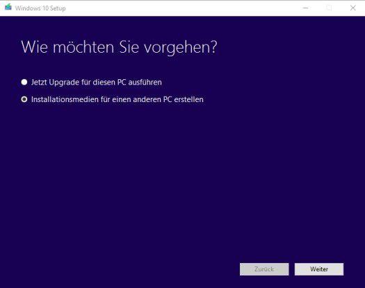 Verfügen Sie über eine ISO-Datei von Windows 10, können Sie eine ISO kostenlos bei Microsoft mit einem Tool herunterladen.