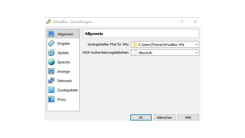 Bevor Sie einen virtuellen Computer erstellen, sollten Sie VirtualBox an Ihre eigenen Anforderungen anpassen.