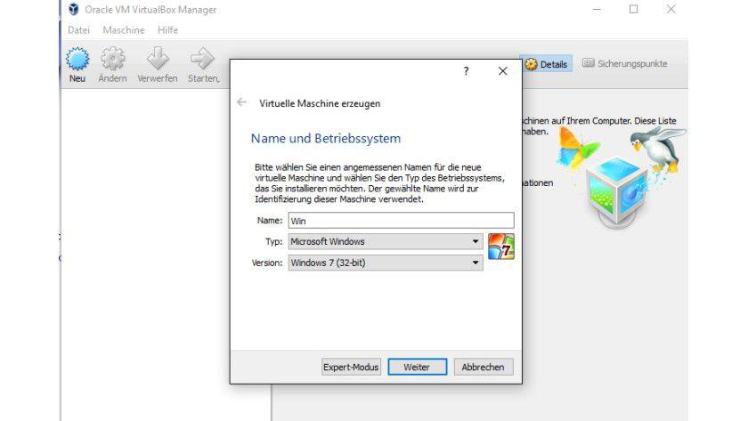 Mit VirtualBox erstellen Sie einen neuen virtuellen Windows 7-, 8- oder Windows 10-Computer.