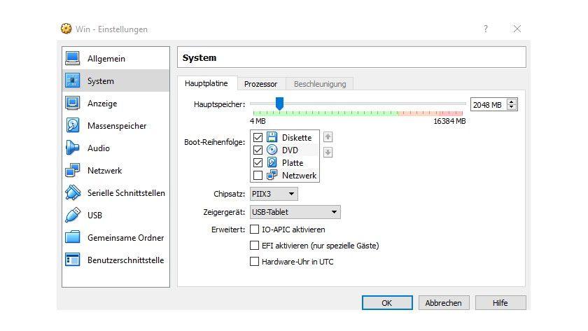 Damit der virtuelle PC optimal läuft, müssen Sie noch Beschleunigungsfunktionen aktivieren.