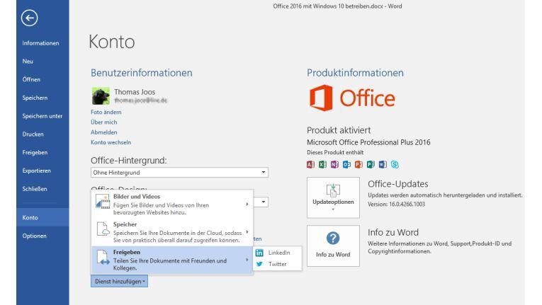 In den Konteneinstellungen von Office 2016 binden Sie die Anwendungen an verschiedene Clouddienste an. Danach lassen sich Dokumente schnell und einfach freigeben.