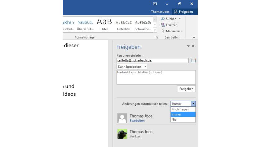 Dokumente lassen sich in Office 2016 schnell und einfach über OneDrive freigeben.