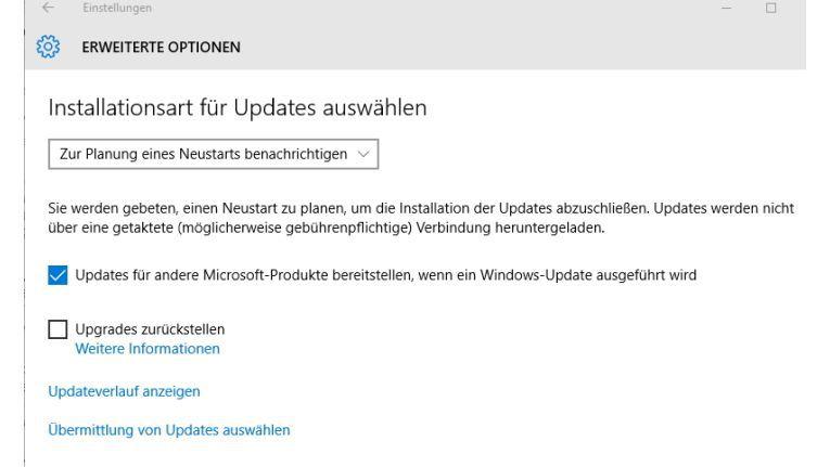 In den Update-Einstellungen von Windows 10 müssen Sie die Aktualisierung externer Produkte über Windows-Update erst aktivieren.