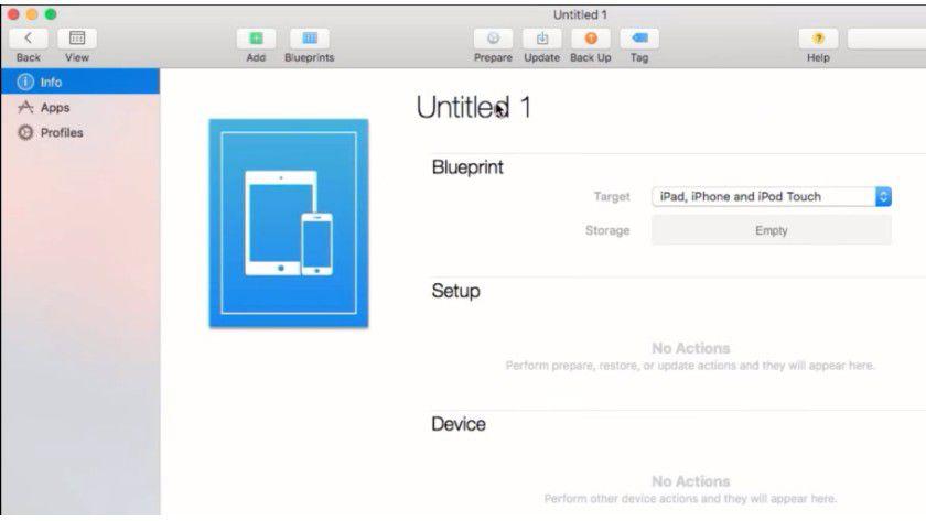 Über Blueprints steuern Sie Vorlagen, mit denen Sie Ihre iOS-Geräte im Unternehmen bereitstellen können.