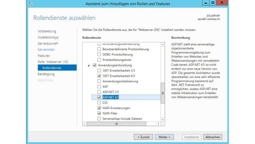 Für den Betrieb von Microsoft Azure Pack müssen Sie noch zusätzliche Rollendienste für den IIS installieren.