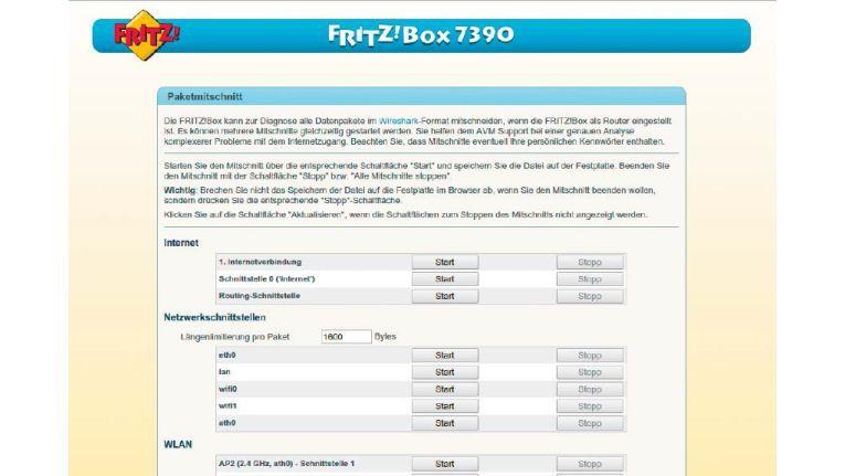 : Direkt über die Oberfläche der Fritzbox aktivieren Sie das Protokoll der Datenpakete mit Wireshark.