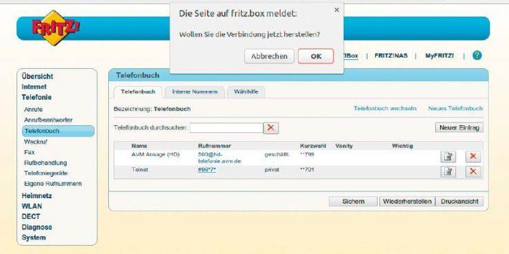 Über die Wahlhilfe und das Adressbuch der Fritzbox rufen Sie die Kurzwahl für das Aktivieren des Telnet-Zugangs auch ohne Telefon auf.