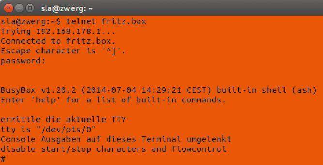 """""""Connected to fritz.box"""": Mit einem Terminal loggen Sie sich per Telnet (nicht nur unter Linux) auf dem Router ein."""