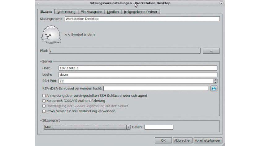 Ist der X2Go-Server auf einem Linux-PC im Netzwerk installiert, dann reichen wie bei SSH der Benutzername und das Passwort.