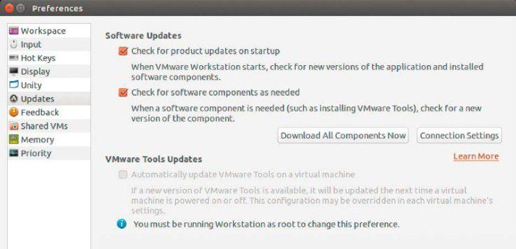 Die Vmware Workstation wird über ihren eigenen Installer auf dem Linux-System eingerichtet und kann sich selbst aktualisieren, sofern ein Update vorliegt.