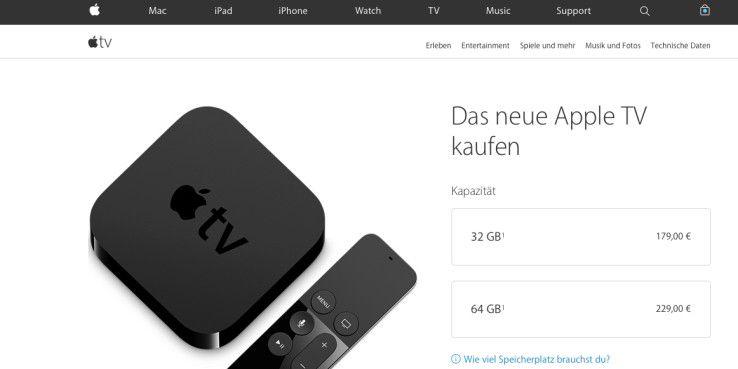 180 oder 230 Euro: Das Apple TV 4 ist mit unterschiedlich viel Speicher ausgestattet.