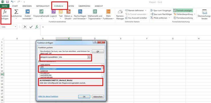 Hier zeigt Ihnen Excel alle verfügbaren Funktionen an.
