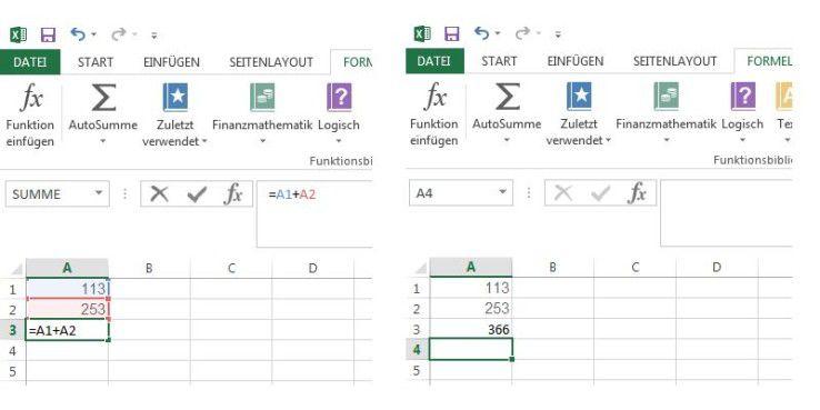 Links die Fornel =A1+A2, rechts das Ergebnis