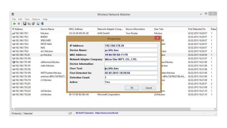 Zusammen mit SmartSniff und NetworkTrafficView ergänzt Wireless Network Watcher Informationen zu Ihrem Netzwerk