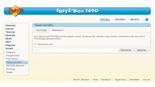 WLAN-Router: Tasten an der Fritzbox sperren