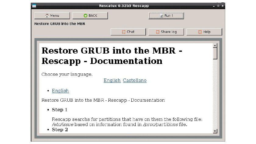 Rescatux zeigt ein einfaches Menü, über das Sie die gewünschten Reparatur-Tools starten, so etwa zur Reparatur des Grub-Bootmanagers.
