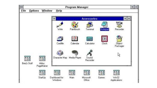 Windows 3.1: Vor dem Windows Explorer gab es den Programm-Manager, in dem sich Anwendungen auf jede erdenkliche Weise gruppieren und sammeln ließen.