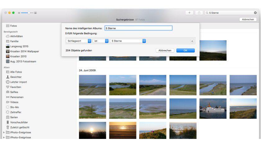Sternwertungen aus iPhoto hat Fotos als Tags übernommen, intelligente Alben legt man wie bisher an.