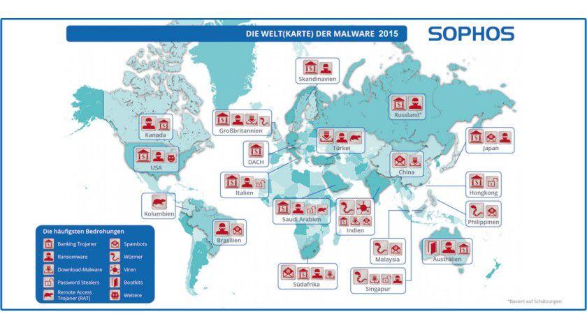 Die Malware-Weltkarte 2015 zeigt regionale Unterschiede auf