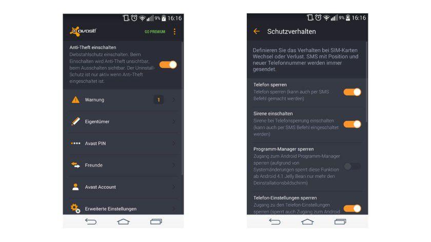 Mit der Anti-Diebstahl-App von Avast können Sie das Handy nicht nur orten, Sie können sich auch beim SIM-Karten Wechsel informieren lassen, Fotos vom Dieb machen und die Umgebung belauschen - die letzten beiden Funktionen aber nur in der Premium-Version.
