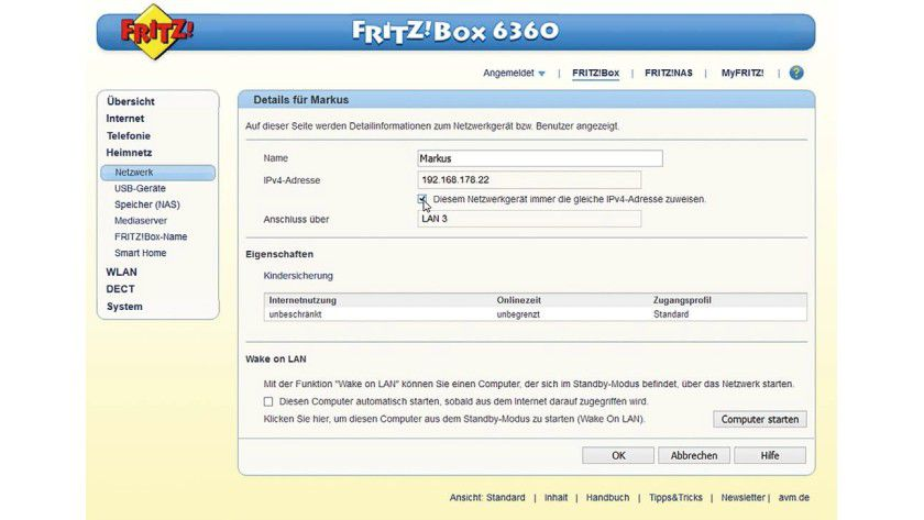 Wichtig: Der Computer in Ihrem Netzwerk, auf dem der OpenVPN-Server installiert werden soll, muss stets die selbe IP-Adresse bekommen.