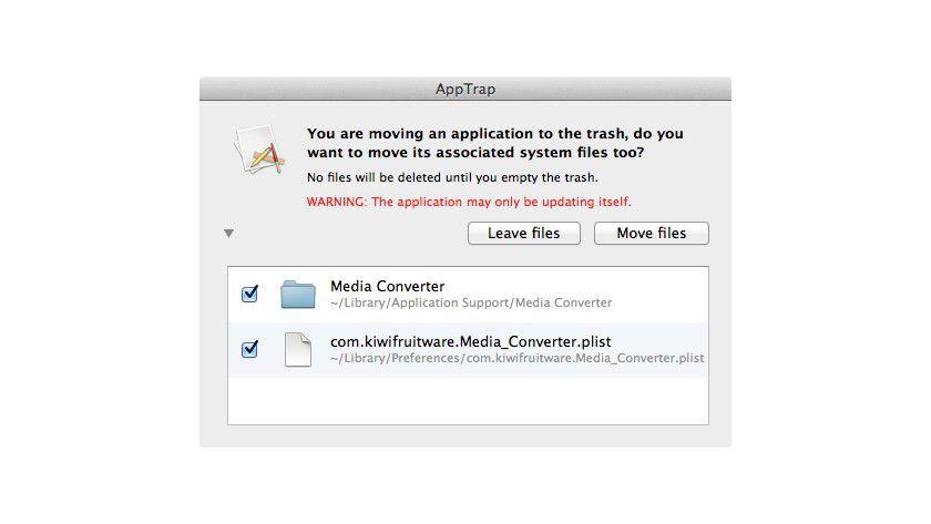 AppTrap löscht zugehörige Dateien eines Programms wenn man es in den Papierkorb zieht.