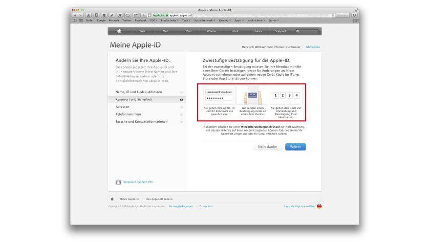 Zunächst erklärt Apple, wie nun das Einloggen auf einem fremden Rechner beispielsweise funktioniert.