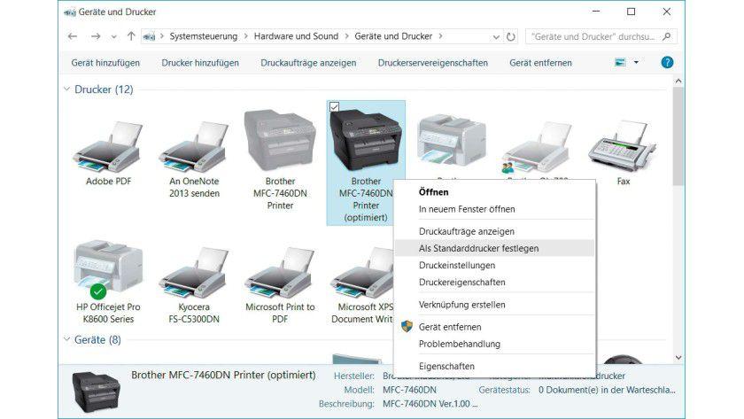 Besitzen Sie mehrere Drucker, legen Sie mit einem Rechtsklick im Druckerordner der Systemsteuerung das meistgenutzte Gerät als Standarddrucker fest.