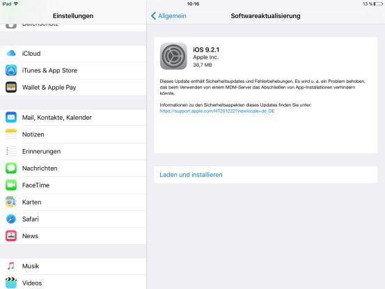 Mit iOS 9.2.1 behebt Apple primär Fehler.