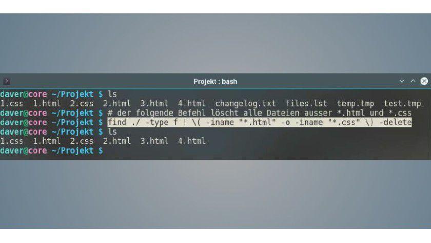 """Der find-Befehl kann bestimmte Dateiendungen filtern und enthält einen eigenen Löschbefehl über den Parameter """"-delete""""."""