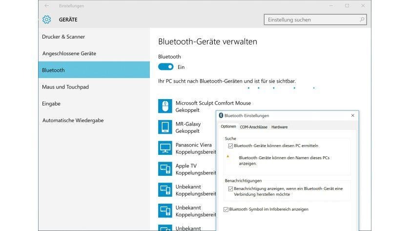 Damit Ihr Windows-Rechner für andere Bluetooth-Geräte über die Umgebungssuche auch auffindbar ist, müssen Sie die Bluetooth-Funktion erst über die Einstellungen-App von Windows 10 aktivieren.
